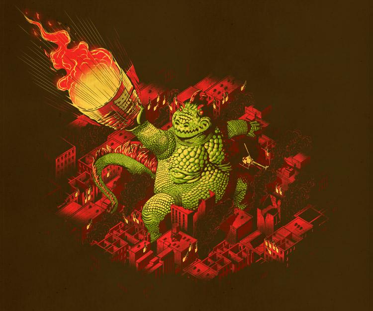Godzilla deteniendo un proyectil