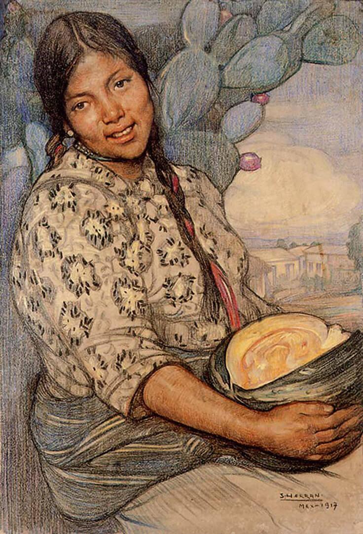 México es mujer, mujer con calabaza