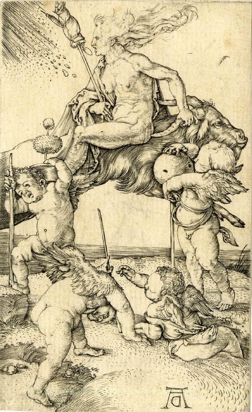 Apócrifa Art Magazine, Brujas, Bruja montando una cabra al revés