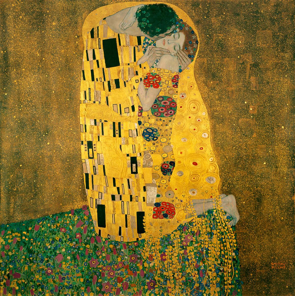 El oro de Klimt, el beso