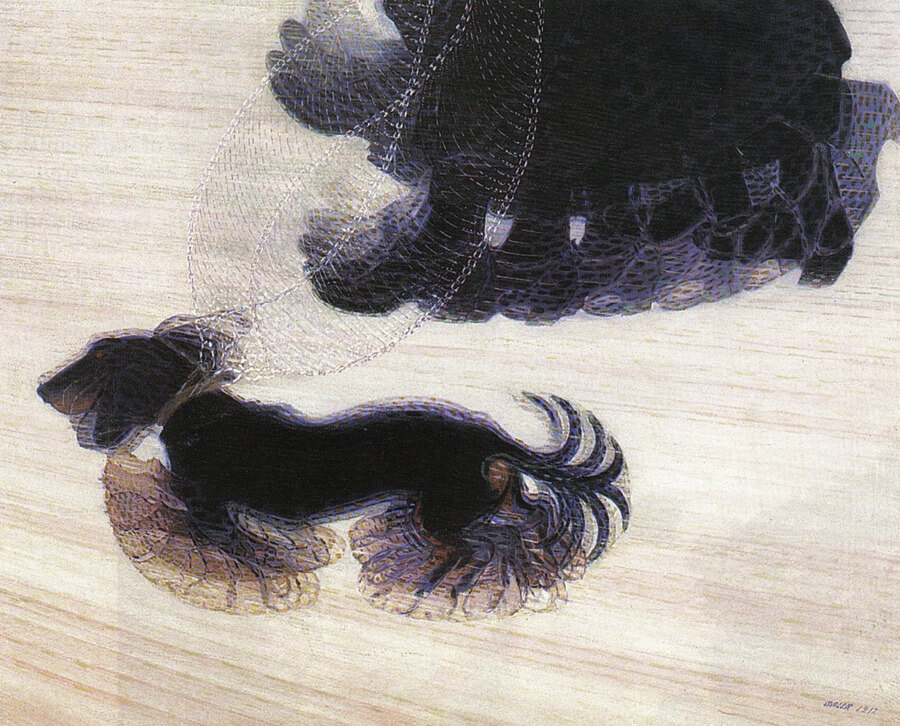 Canis lipus familiaris, Giacomo Balla, dinamismo de un perro con correa