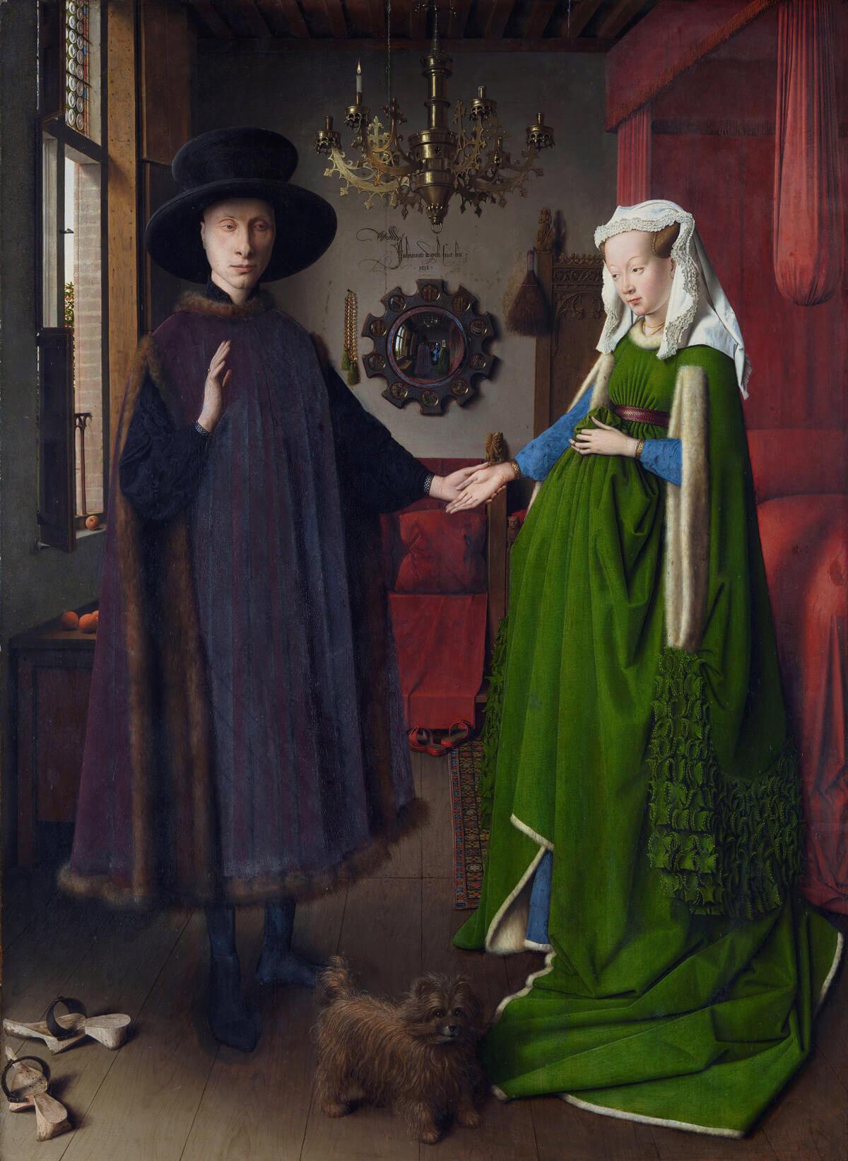 Canis lipus familiaris, Van Eyck, el matrimonio Arnolfini