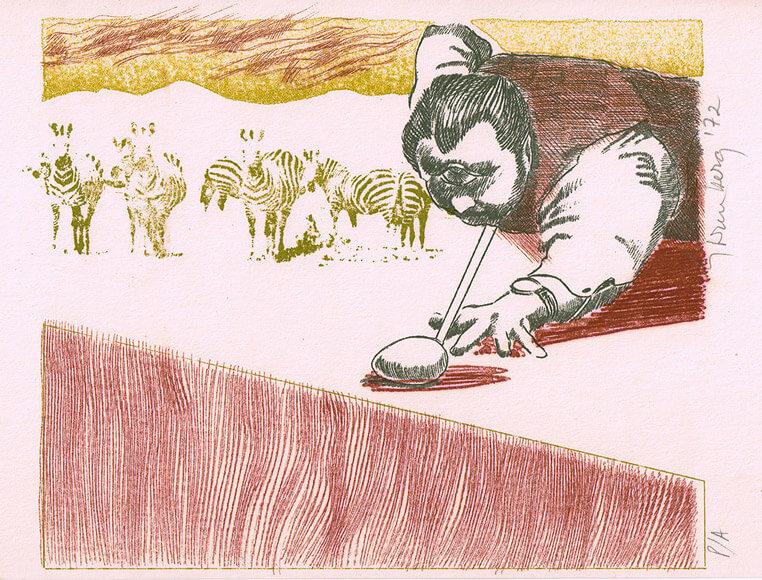 Cíclope de billar (1972), impresión mimeográfica.