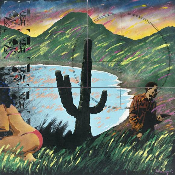 Bahía de Tiburones (1989), vinilacrílico, esmalte en aerosol y lápices de color sobre madera.